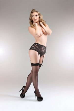 Miss Naughty Curvy Deep Lace 4 Strap Suspender Belt