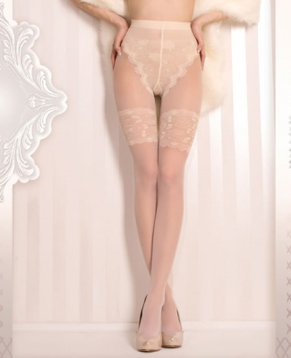 Ballerina Avorio Luxury Lace Faux Hold Up Tights