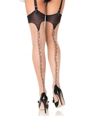 Leg Avenue Sheer Scroll Backseam Stockings