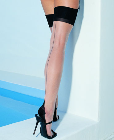 Leg Avenue Cuban Heel Contrast Stockings
