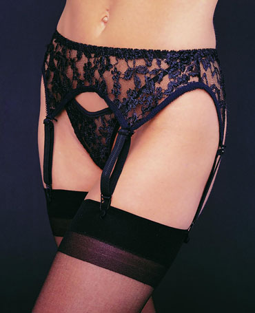 Leg Avenue Lace Suspender Belt And Thong Set