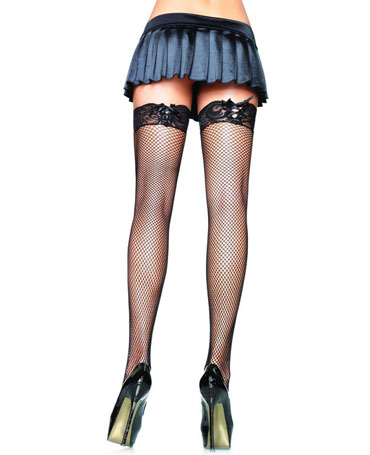 Leg Avenue Fishnet Stockings With Corset Lace Top