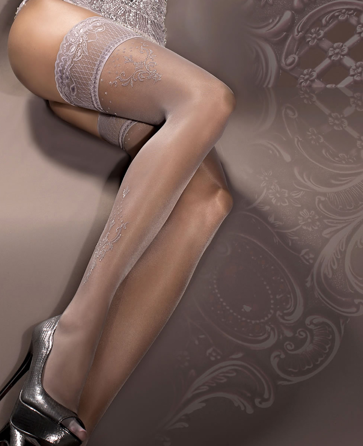 9a00b834a Ballerina Smoke Sparkle Lace Top Hold Ups at Stockings Direct