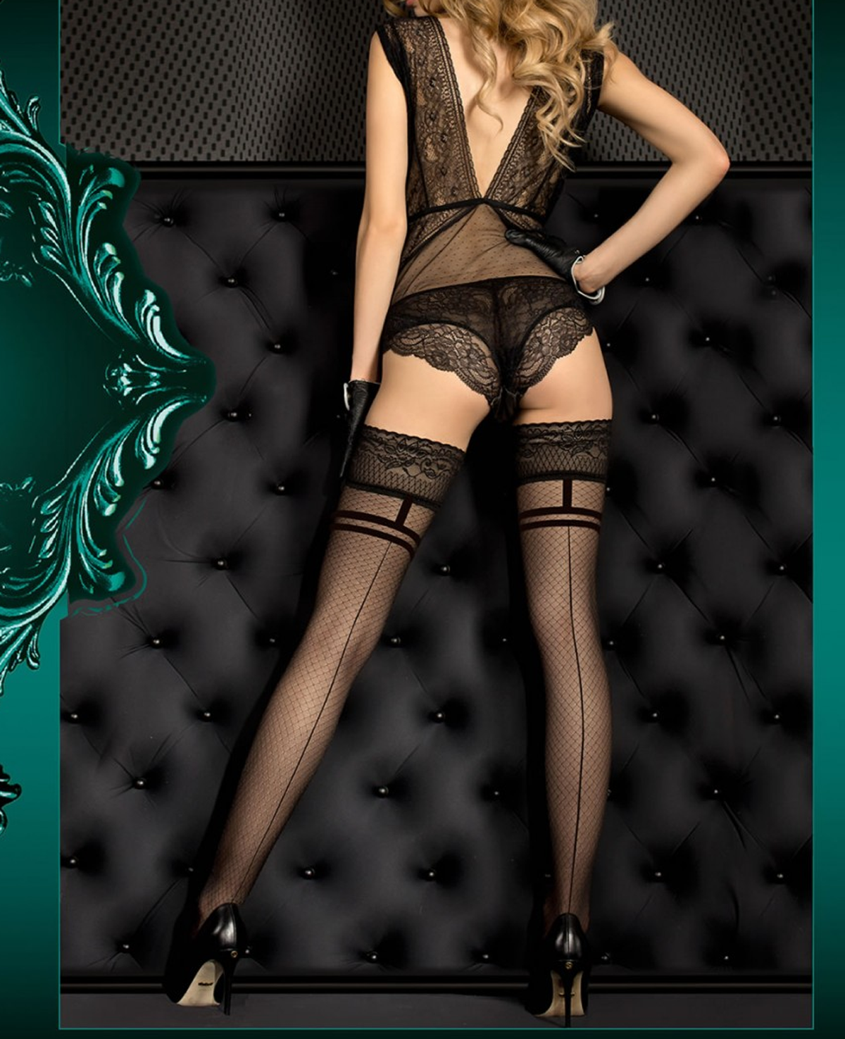 69db954b8 Ballerina Criss Cross Seamed Lace Top Seamed Hold Ups at Stockings ...