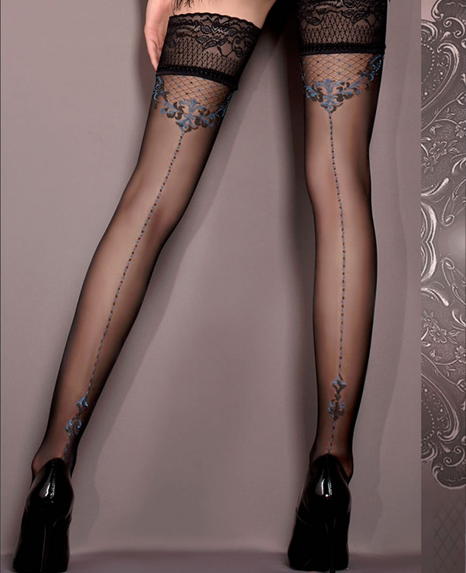 9f1418c1a Ballerina Baroque Lace Top Seamed Hold Ups at Stockings Direct