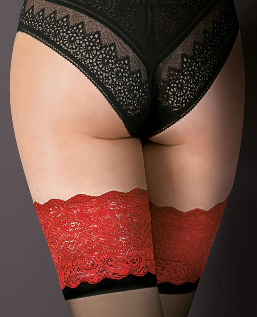 8bc2b4ce8 Gabriella Victoria Contrast Lace Top Hold Ups at Stockings Direct