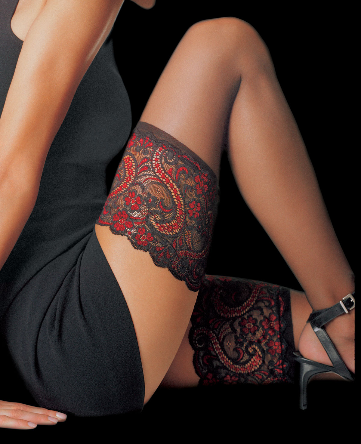 5cbaa087ca9 Le Bourget Essentiel Hold Ups - Black   Red Top at Stockings Direct