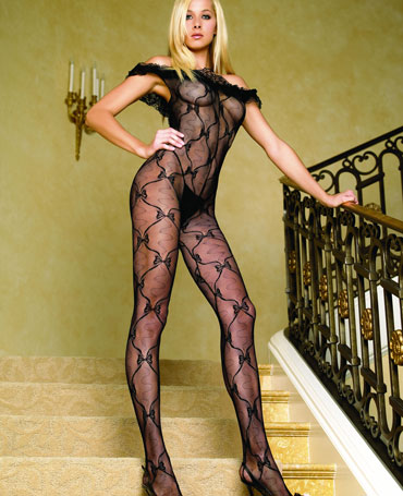 Leg Avenue Bow Lace Open Crotch Bodystocking