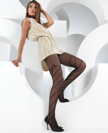 Levante Sprial Bow Garter Tights