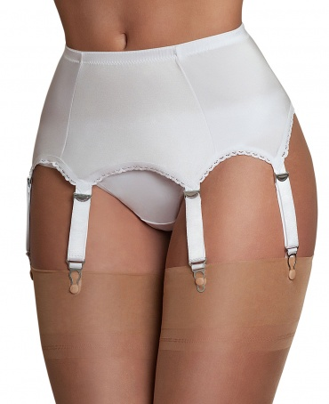 Nylon Dreams 6 Strap Plain Satin Suspender Belt