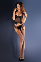 Gabriella Strip Panty Suspender Fishnet Tights