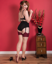 What Katie Did Natural Bordeaux Seamed Contrast Stockings