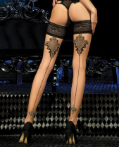 Ballerina Oriental Gold Detail Lace Top Hold Ups