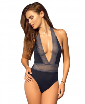 Navy Plunge Swimsuit With Lace Panelling