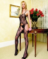 Leg Avenue Bow Lace Suspender Bodystocking