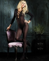 Leg Avenue Opaque Deep V Criss Cross Bodystocking