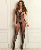 Leg Avenue Embroidered Bodice Fishnet Bodystocking