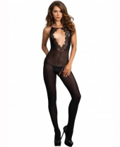 Leg Avenue Eyelash Lace Opaque Bodystocking