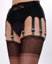 Nylon Dreams 10 Strap Lace & Satin Suspender Belt