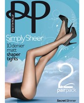 Pretty Polly Simply Sheer Secret Slimmer Tights 2 Pair Pack