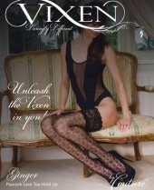 Vixen Ginger Peacock Lace Top Hold Ups