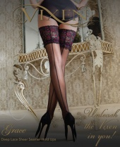 Vixen Grace Seamed Lace Top Hold Ups