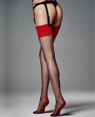 Veneziana Leticia Contrast Top Point Heel Seamed Stockings