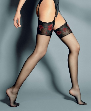 Veneziana Nadia Floral Top Sheer Stockings