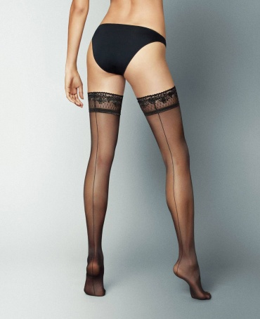 Veneziana Riga Dietro Seamed Lace Top Hold Ups