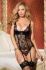 Shirley Of Hollywood Eyelash Lace 4 Strap Bustier with Matching Thong