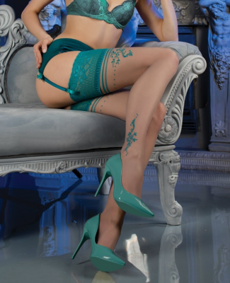 Ballerina Turquoise Lace Top Contrast Patterned Hold Ups