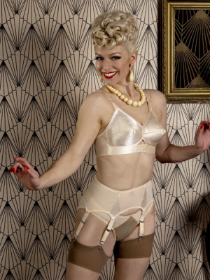 What Katie Did Peach Mesh & Satin 6 Strap Suspender Belt