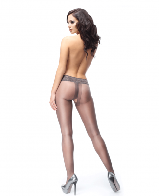 Miss O Lace Top Open Crotch Pantyhose