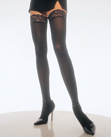 Leg Avenue Opaque Stockings With Lace Top