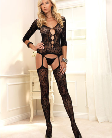 Leg Avenue Floral Lace Suspender Bodystocking