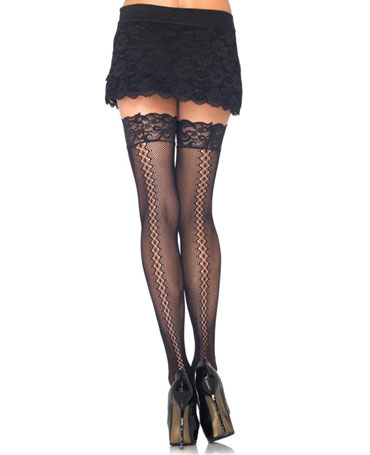 Leg Avenue Fishnet Hold Ups With Diamond Twist Backseam