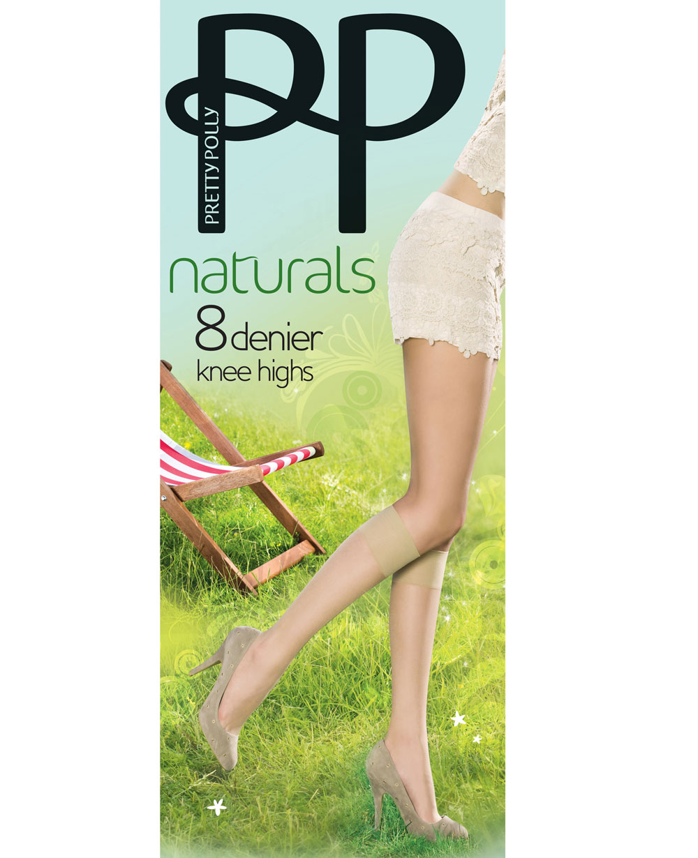 Ladies hold ups pretty polly 8 denier barely there cooling shea butter s//m