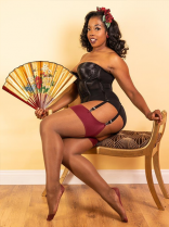 What Katie Did Nutmeg Bordeaux Seamed Contrast Stockings