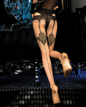 Ballerina Oriental Gold Pattern Mock Suspender Tights