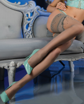 Ballerina Grey Polka Dot Lace Top Contrast Hold Ups