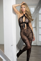 Shirley of Hollywood Fishnet Lace Ribbon Bodystocking