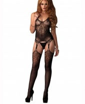 Leg Avenue Lace Jacquard Net Suspender Bodystocking