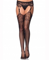 Leg Avenue Lace & Fishnet Stockings With Attached Garter Belt