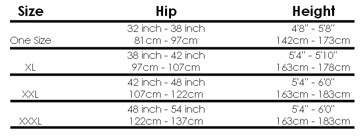 Miss Naughty Tights Size Guide